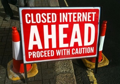 Closed Internet Ahead sign